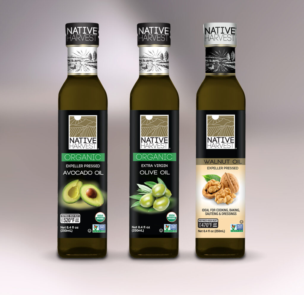 AVO Native Harvest organic and nongmo oils in 250mL square glass bottle lineup new products